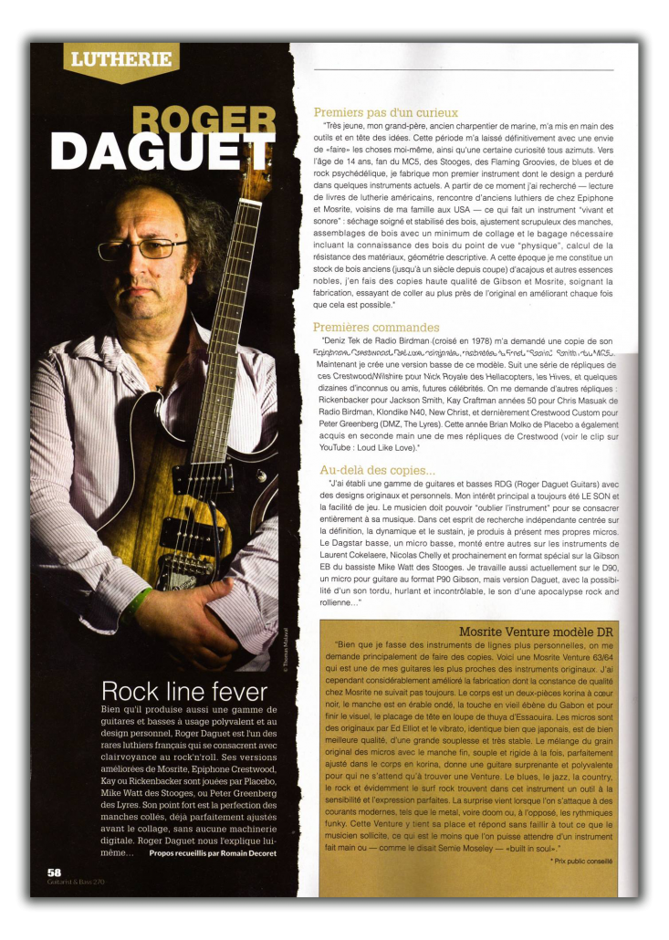 Daguet Guitars dans Guitarist & Bass Magazine - page 1