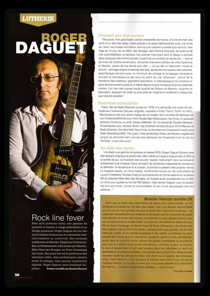 Daguet Guitars dans Guitarist & Bass Magazine - page 1